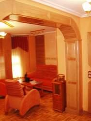 arco de madera maciza de roble tallado diseño
